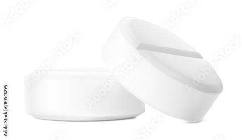 Realistic round pills isolated on white background Fototapeta