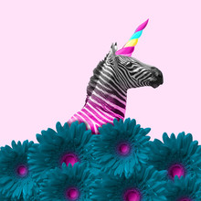 Dreaming About Being Better. An Alternative Zebra Like A Unicorn In Blue Flowers On Pink Background. Negative Space. Modern Design. Contemporary Art. Creative Conceptual And Colorful Collage.