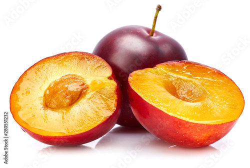 Fresh plum in cut Canvas Print