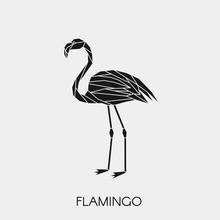 Geometric Flamingo. Polygonal Animal. Black Silhouette. Vector Illustration.