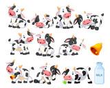 Fototapeta Fototapety na ścianę do pokoju dziecięcego - Collection of cute cow with various posing