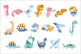 Fototapeta Dino - Funky Stylized Dinosaurs Real Species And Imaginary Jurassic Reptiles Set Of Colorful Childish Prints