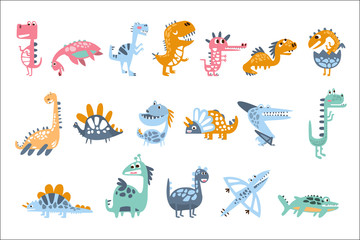 Funky Stylized Dinosaurs Real Species And Imaginary Jurassic Reptiles Set Of Colorful Childish Prints