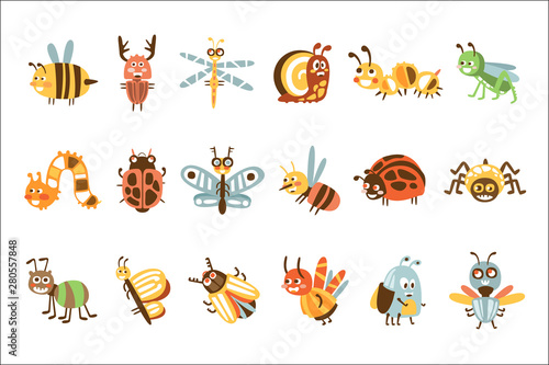 Fotomural  Funky Bugs And Insects Set Of Small Animals With Smiling Faces And Stylized Desi