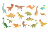 Fototapeta Dino - Dinosaurs Of Jurassic Period Set Of Prehistoric Extinct Giant Reptiles Cartoon Realistic Animals.