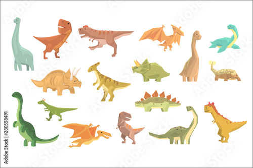 Dinosaurs Of Jurassic Period Set Of Prehistoric Extinct Giant Reptiles Cartoon Realistic Animals Wallpaper Mural