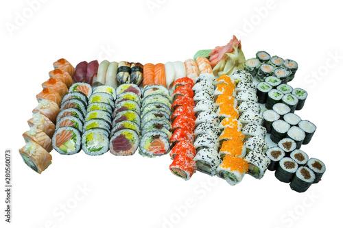 Fototapeta Zestaw Sushi - duży kolorowy, różne smaki. obraz