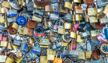 PORTLAND, MAINE - OCTOBER 16, 2015: Padlocks Along City Waterfront. They Are A Way To Freeze A Moment