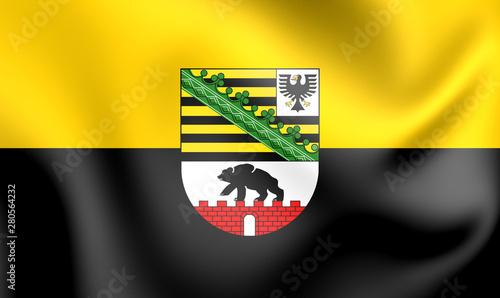 Valokuva  3D Flag of Saxony-Anhalt, Germany.