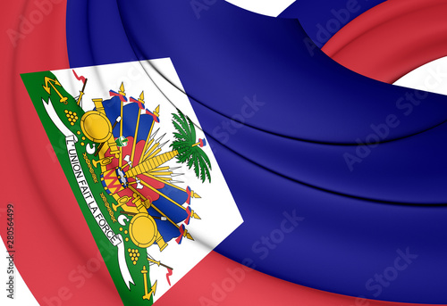 Photo 3D Flag of the Haiti. 3D Illustration.