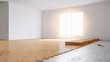 Leinwandbild Motiv Parkett legen in Wohnung bei Renovierung