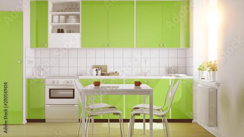Einbauküche in kleiner Küche mit Tisch - Buy this stock ...