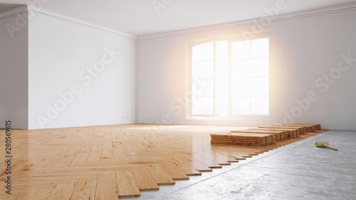 Obraz Parkett legen in Wohnung bei Renovierung - fototapety do salonu