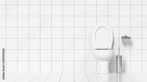 Pinturas sobre lienzo  Saubere Toilette im WC mit weißen Fliesen