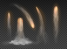 Space Rocket Bomb Smoke Isolated On Transparent Background