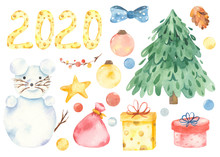 Cute Cartoon Rat Snowman Watercolor Fir Tree Christmas Toys And Christmas Gifts Set. Illustration Of Animal Symbol Of The Year. New Year 2020 Holiday.