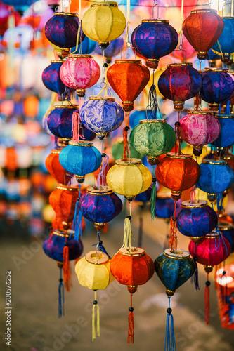 Photo  Colorful tradition lantern at china town lantern market in saigon, Vietnam