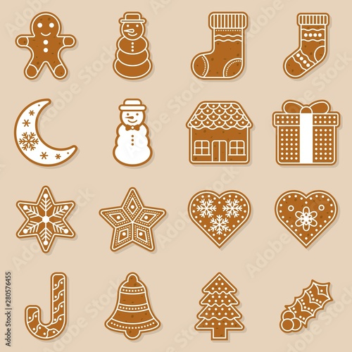 Foto gingerbread for christmas theme, flat design with detail editable outline