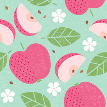 Seamless Pattern. Red Apple Ju...