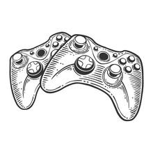 Gamepad. Vector Concept In Doo...