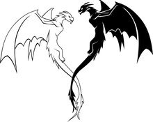 Dragon Duo Flying Side View