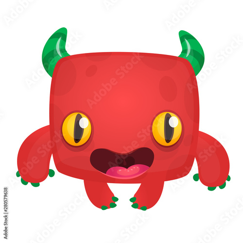 Funny cartoon monster. Vector Halloween illustration