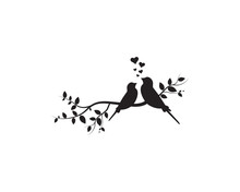 Birds Couple In Love On Branch, Wall Decals, Vector, Birds Silhouettes Illustration Isolated On White Background, Wall Art Decor, Home Decor, Romance In Nature