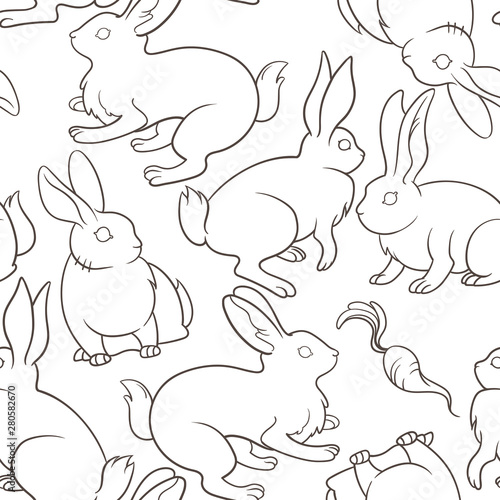 Tuinposter Outline bunnies on white background pattern