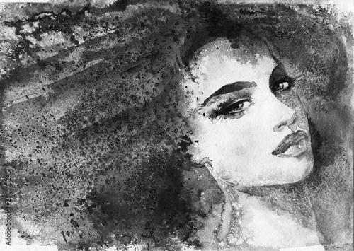 Spoed Foto op Canvas Aquarel Gezicht Watercolor fashion portrait