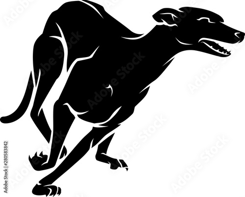 Fastest Racing Dog Breed, Black Greyhound, Canvas Print