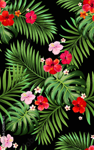 Trendy vector pattern in tropical style. Seamless botanical print for textile, print, fabric on dark background. Summer pattern for textile design.