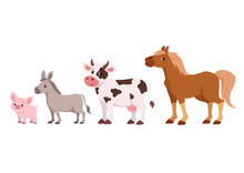 Cute Cattle Set Vector Isolated