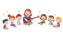Kids Teacher Music Guitar Vector Illustration