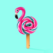 Leinwanddruck Bild - An alternative sweets. Candy as a flamingo on the wooden stick on blue background. Negative space to insert your text. Modern design. Contemporary art. Creative conceptual and colorful collage.