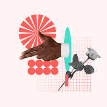 Taking A Target. Male's Hand With Rose On Pink Background. Negative Space To Insert Your Text. Modern Design. Contemporary Art. Creative Conceptual And Colorful Collage.