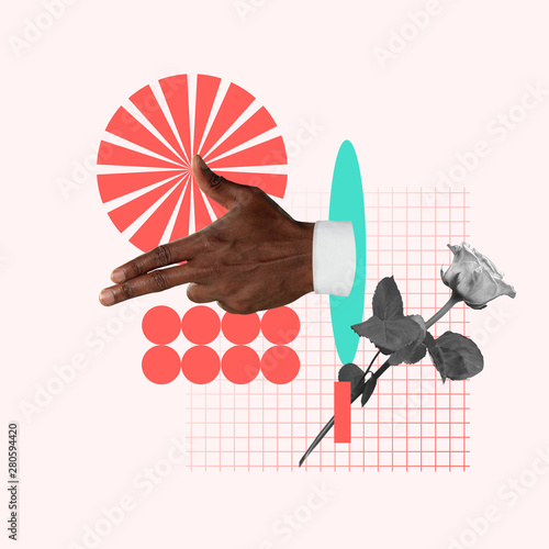 Obraz Taking a target. Male's hand with rose on pink background. Negative space to insert your text. Modern design. Contemporary art. Creative conceptual and colorful collage. - fototapety do salonu