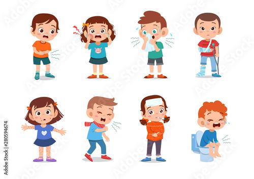 Leinwand Poster kids sick unhealthy vector illustration
