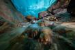 below the Aletsch Glacier in a ice cave