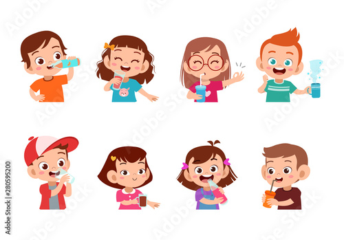 kids drinking isolated vector illustration Wallpaper Mural
