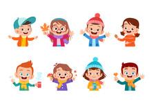 Happy Kids Autumn Vector Illustration