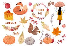 Autumn Object Collection With Dry Tree,squirrel,acorn,leaves,woman.Illustration For Sticker,postcard,invitation,element Website.Included Hello Fall And Autumn Sale Wording