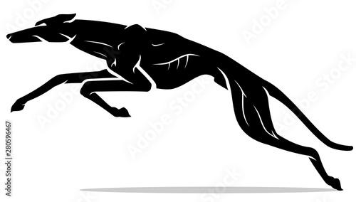 Fotografie, Tablou Black Greyhound Lunge, Silhouette Illustration