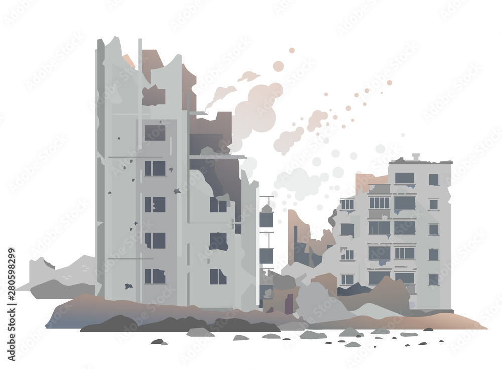 Fototapeta Eastern european destroyed buildings between the ruins and concrete, war destruction concept illustration isolated on white background, destroyed residential neighborhood landscape