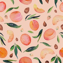 Watercolor Peach Pattern With Leaves And Different Pieces On Pink