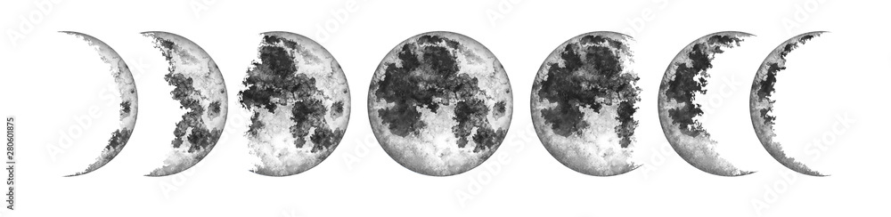 Fototapeta Moon phases isolated on white background. Watercolor hand drawn illustration.