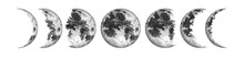 Moon Phases Isolated On White Background. Watercolor Hand Drawn Illustration.