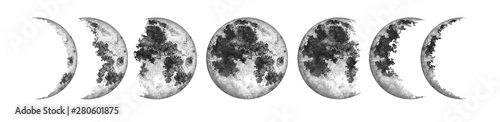 Fotografie, Obraz Moon phases isolated on white background