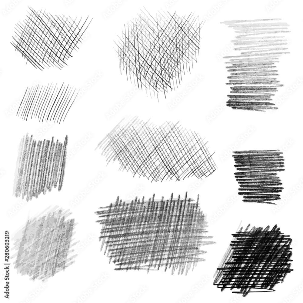 Fototapeta Hand drawn pencil texture set, different shapes. - obraz na płótnie