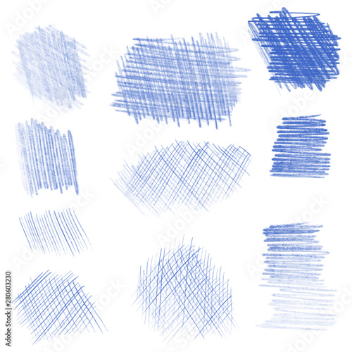 Fototapeta Hand drawn pencil texture set, different shapes. obraz na płótnie