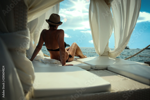 Fotografie, Obraz  Luxurious resting raft floating on calm turquoise sea water